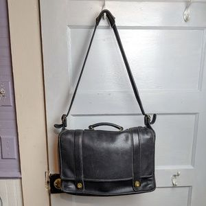 Coach Black Leather Briefcase/ Laptop Case